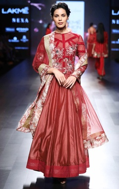 Red anarkali with velvet stripes