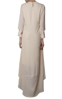Ivory high low embroidered dress