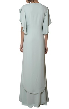 Mint blue dress with ruffled sleeves