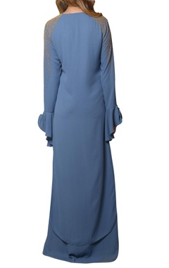 teal maxi layered dress with ruffled sleeve