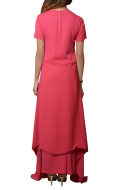 pink tunic with pleated pants