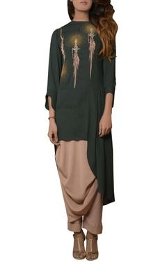 green tunic with dhoti pants