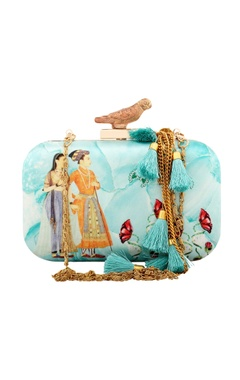 blue royal maharaja satin clutch