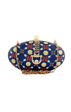 blue floral printed festive clutch