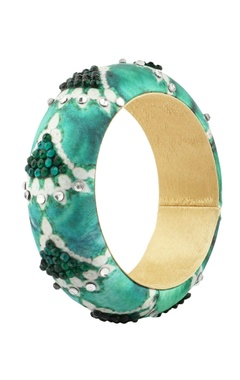green satin bangle with pearls