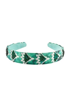 green printed satin hairband
