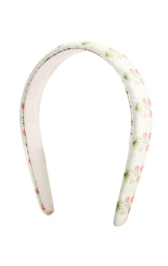 cream printed satin hairband