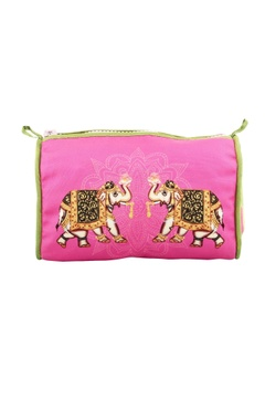 Pink hathi bageecha travel pouch
