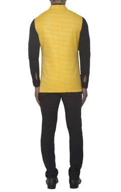 Yellow silk bandhgala jacket