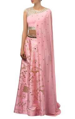 Baby pink metallic printed lehenga & hand embroidered blouse with attached drape