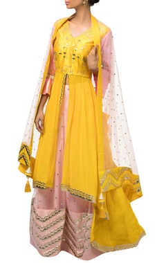 Yellow & pink dupion silk anarkali with lehenga & dupatta