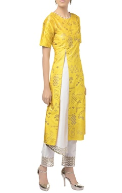 Yellow & ivory dupion silk cutwork embroidered kurta with pants