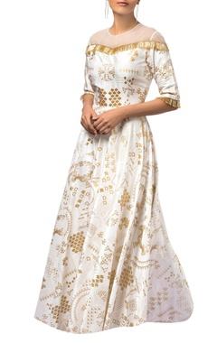 Ivory dupion silk & net printed maxi dress