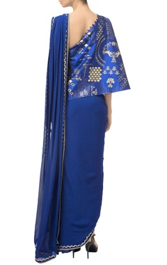 Royal blue asymmetric off-shoulder saree gown