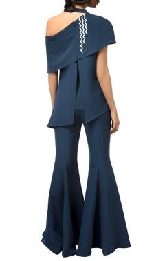 Navy blue butter crepe silk bell bottom jumpsuit