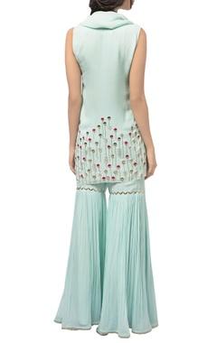 Mint green georgette kurta with attached drape & gharara pants