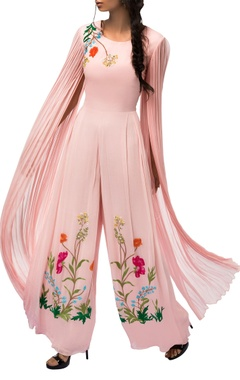Sorbet pink embroidered jumpsuit with exaggerated sleeves
