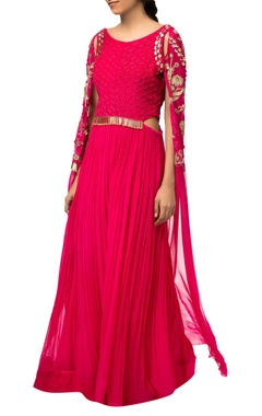 Fuchsia pink raw silk & crepe silk gown with exaggerated sleeves