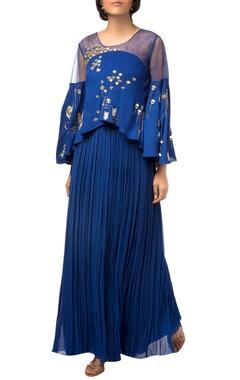 Royal blue asymmetric cape dress