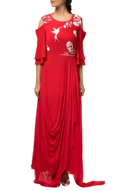 Red cape sleeve asymmetric style dress