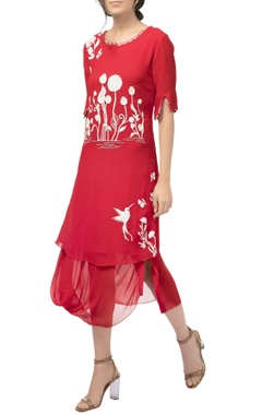 Red georgette silk draped resham embroidered midi dress