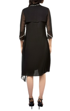 Black georgette midi dress with draped layer