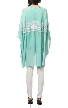 Turquoise georgette silk cape sleeves tunic