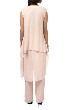 Pink georgette asymmetric layered tunic with pants