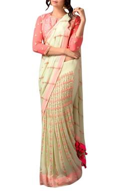 Green & peach french knot sari & blouse