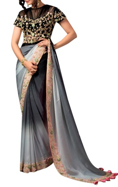 Black & grey ombre sari and blouse