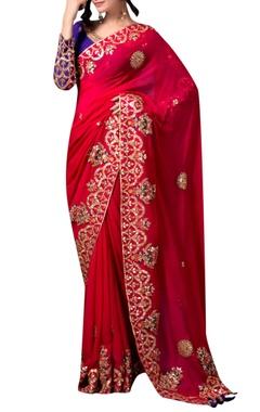 Red gota sari with purple blouse