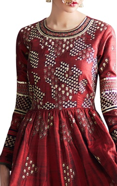 maroon embroidered flared dress