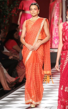 Orange reshma embroidered sari