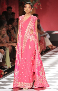 Pink embroidered sari