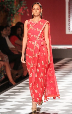 Orange hand embroidered sari