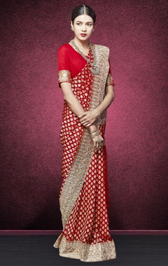 Red handwoven embroidered sari