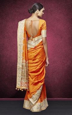 Orange handwoven embroidered sari