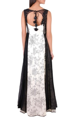 black & white sequin embellished gown