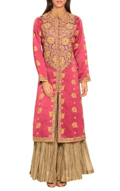 Pink embroidered kurta & palazzos