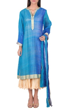 Blue kurta with silver border set