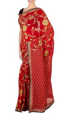 Red & black screen printed sari