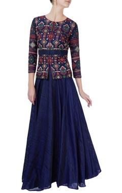 Blue embroidered short jacket & skirt