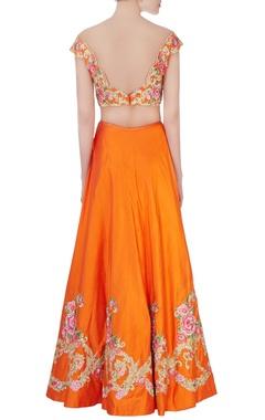 Tangerine orange floral embroidered lehenga set