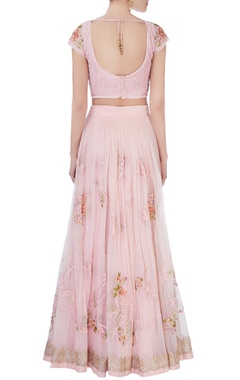Pastel pink sequin lehenga set
