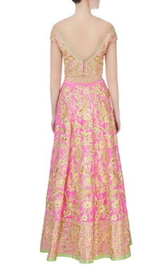Pink zardozi embroidered lehenga set