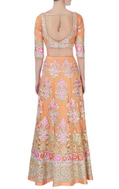 Peach floral embroidered lehenga set