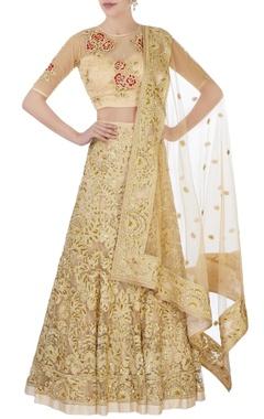 Gold sequin bridal lehenga set