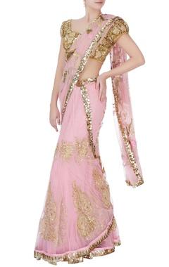 pink sequin sari with blouse & petticoat