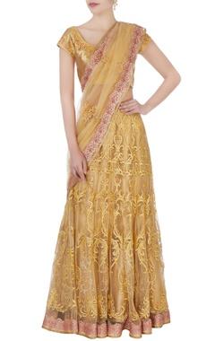 Gold zardozi sari with blouse & petticoat