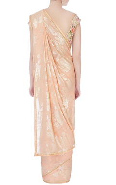 Peach sari with floral blouse & petticoat